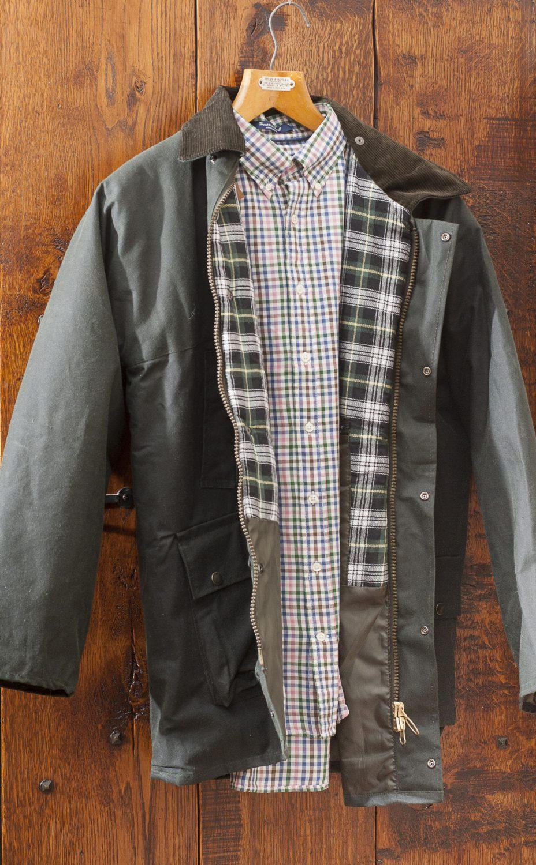 Hunter Outdoor waxed jacket in Olive, £45, Charity Farm Countrystore, Cranbrook 01580 713189 www.charityfarmcountrystore.co.uk; Gant Greenwich twill tattersall check shirt, £99, Jeremy Hobbs Fine Menswear, Surrey 01932 865700 www.jeremyhobbs.co.uk