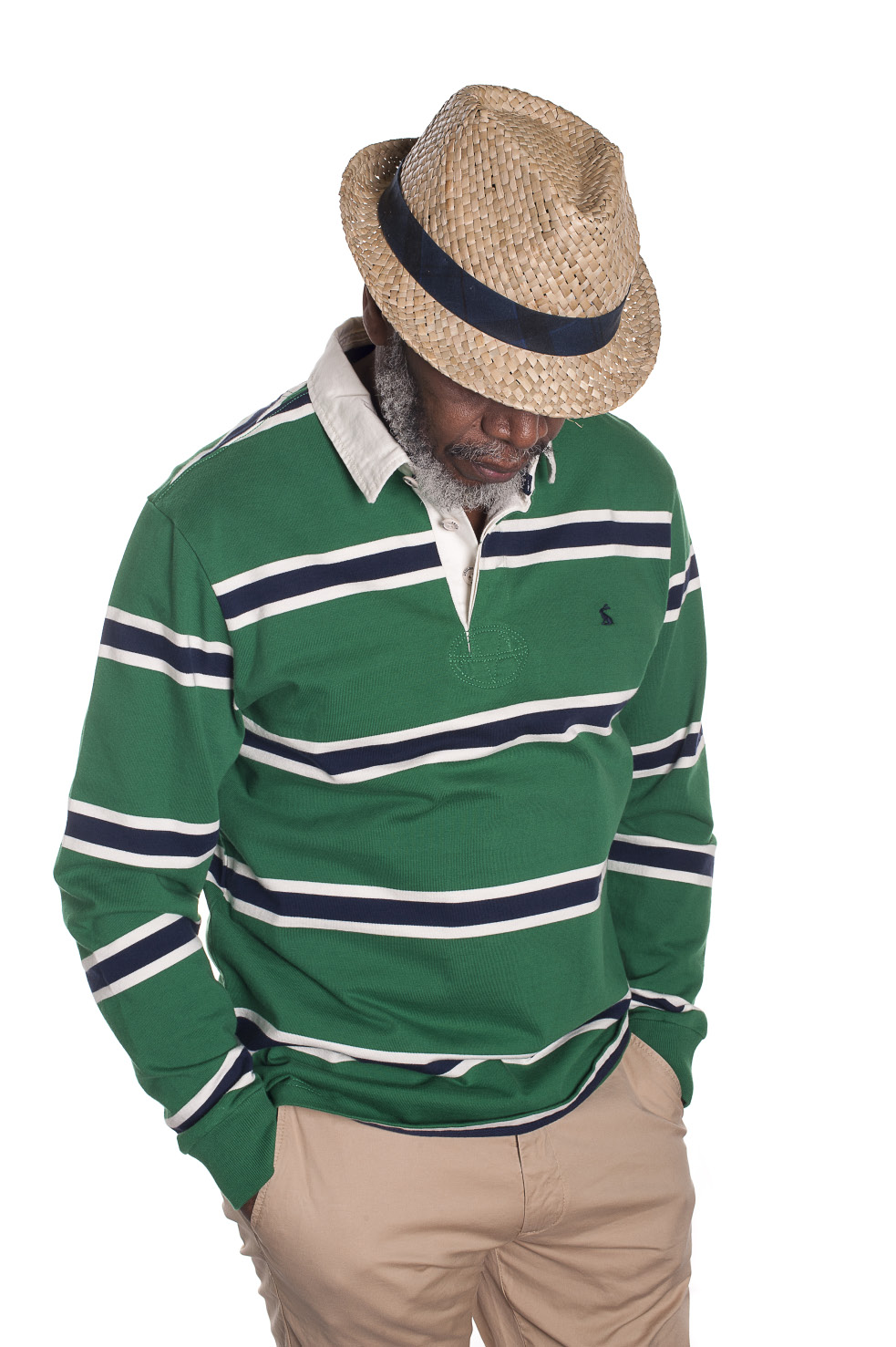 Joules striped rugby shirt, £59.95, Charity Farm Countrystore, Cranbrook charityfarmcountrystore.co.uk 01580 713189; Gant slim summer chino, £100, Fenwick, Tunbridge Wells fenwick.co.uk 01892 516716; Barbour hat, £34.94, The Golden Boot, Maidstone thegoldenboot.co.uk 01622 752349