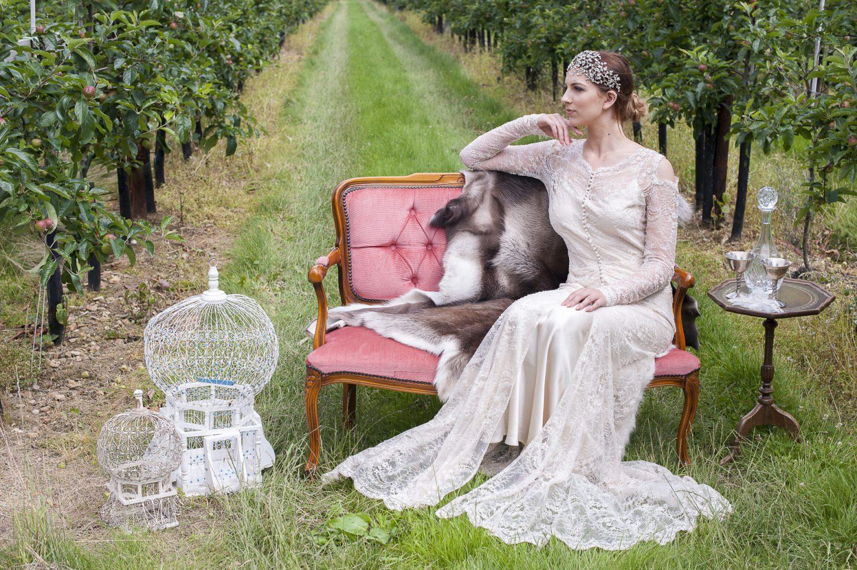 Bespoke embroidered dress, £1850 The Robing Room, Ashford 01233 224985 / therobingroom.co.uk; Chantilly headdress, £495, Helen Morris-Clarke 07725 462071 / helenmorrisclarkedesigns.co.uk