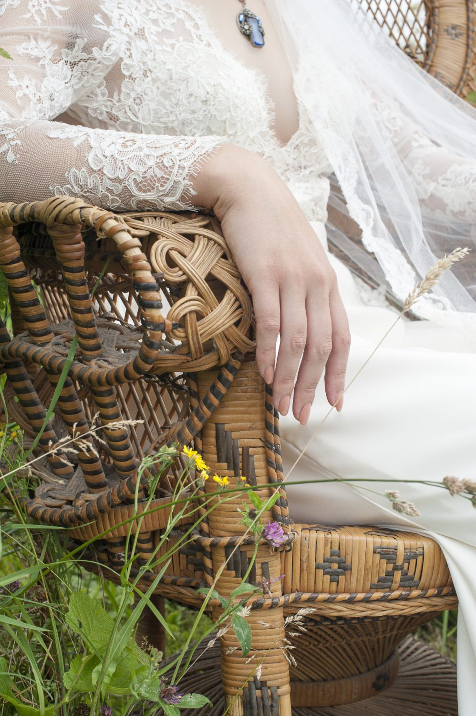 Timeless Couture Luane dress, £2250, bespoke veil, £365, The Bridal Boutique of Jules, Deal 01304 389710 / boutiqueofjules.co.uk; blue Czechoslovakian filigree necklace, £95, Eclectica Vintage Jewellery 020 7607 6327 / eclectica.biz
