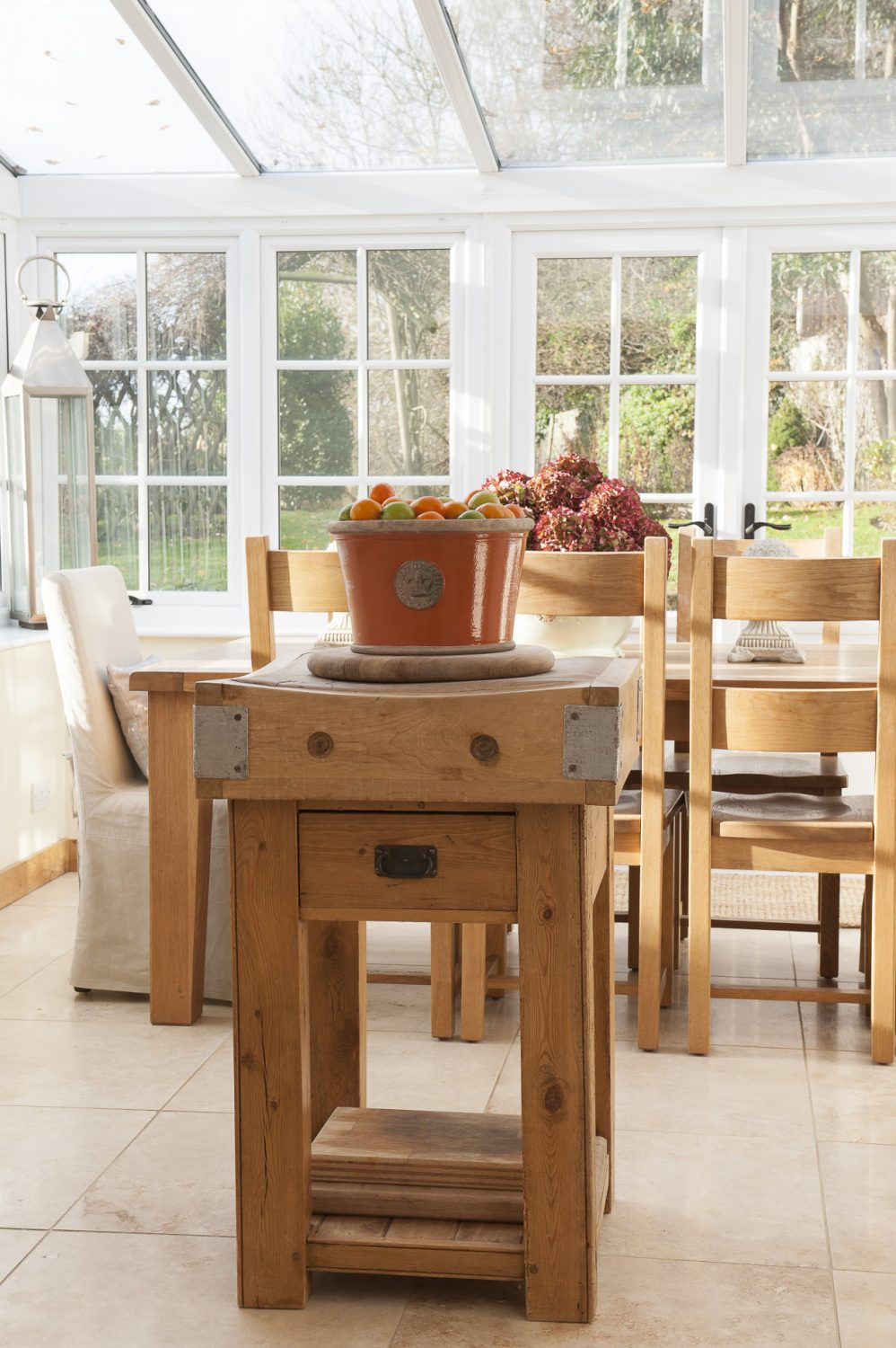 Centrepiece of the kitchen is a contemporary butcher's block – a birthday present to Chris who is the family chef