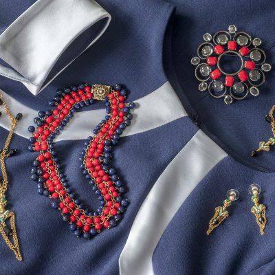 Hybrid dress, £128, Odyl, Cranbrook 01580 714907 www.odyldesign.com; 1950s red and navy beaded necklace, £135, brooch, £125, Eclectica Vintage Jewellery 020 7607 6327 www.wealdenfairs.com/eclecticajewelleryltd / www.eclectica.biz; Maharaja short pendant, £80, Maharaja bracelet, £75, Maharaja earrings, £65, Bill Skinner www.billskinnerjewellery.co.uk
