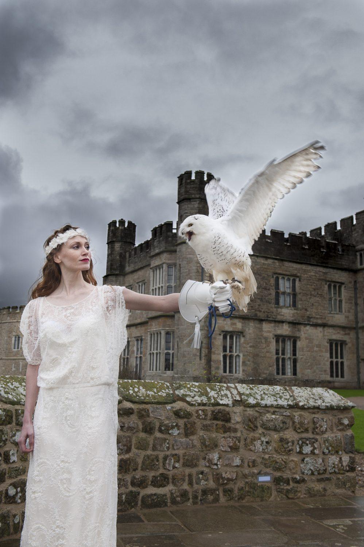 Effie dress, £1400, veil, £140, Minna, The Bridal Boutique of Jules, Deal 01304 389710 www.boutiqueofjules.co.uk; Dougal the snowy owl, Leeds Castle Falconry www.leeds-castle.com/Falconry