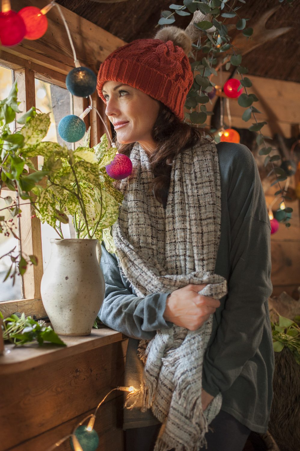 Powder knitted bobble hat, £21, scarf, £26, Ginger Toby top, £58, Spice, Cranbrook spicecranbrook.co.uk 01580 714156; fairy light sets, from £23.95, Cable & Cotton cableandcotton.co.uk