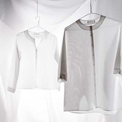 Simple shirt, £230, Buttoned Kimono shirt, £220, In-grid, Worksop in-grid.co