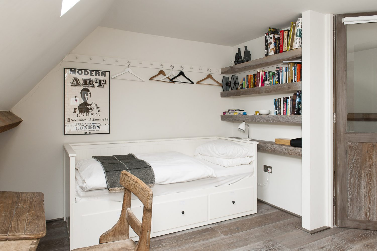 Marta's son Lucas's room has been designed with friends staying in mind