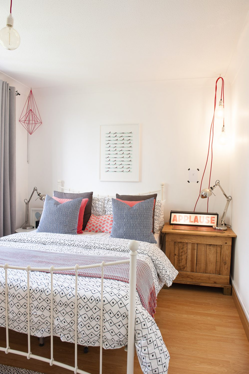 The suspended lamps in one of the two spare bedrooms are from Wickle in Lewes