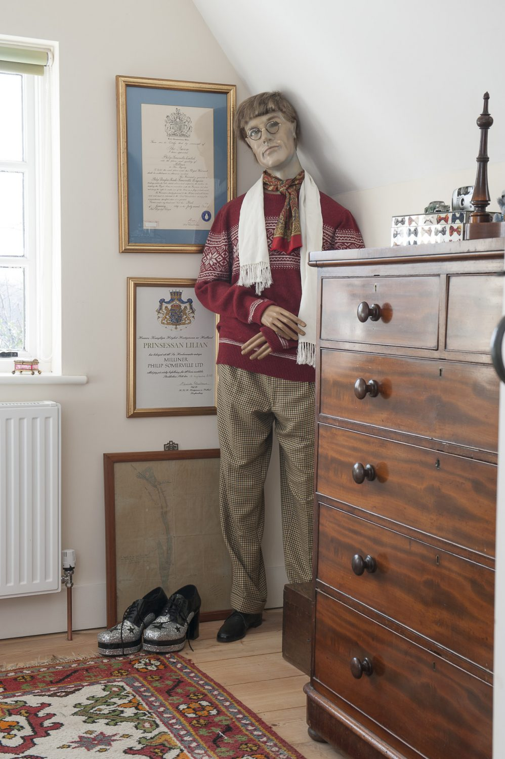 One of the spare rooms is home to another mannequin, called Charlie