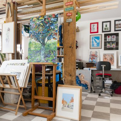 The studio, at the end of the house, offers the perfect space for Dave to create his rural and village street scenes and Sue her portraits and life drawings