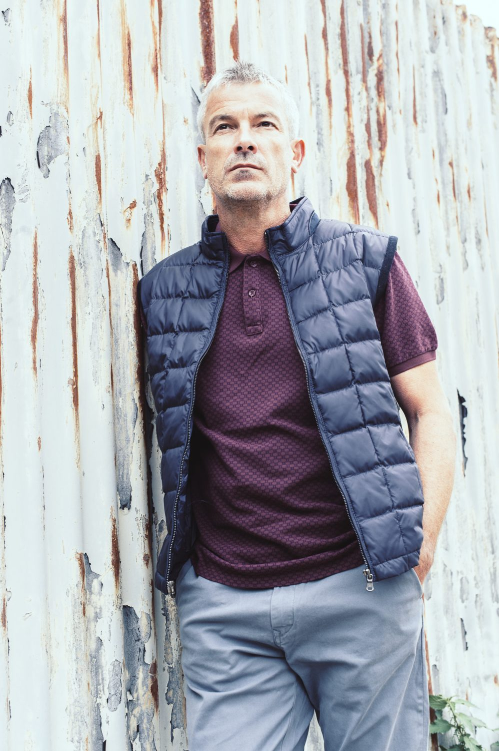Hackett gilet £240, Scotch & Soda polo shirt (wine red) £38.50, blue chinos, £79.95 Ralphs, Cranbrook, 01580 712222