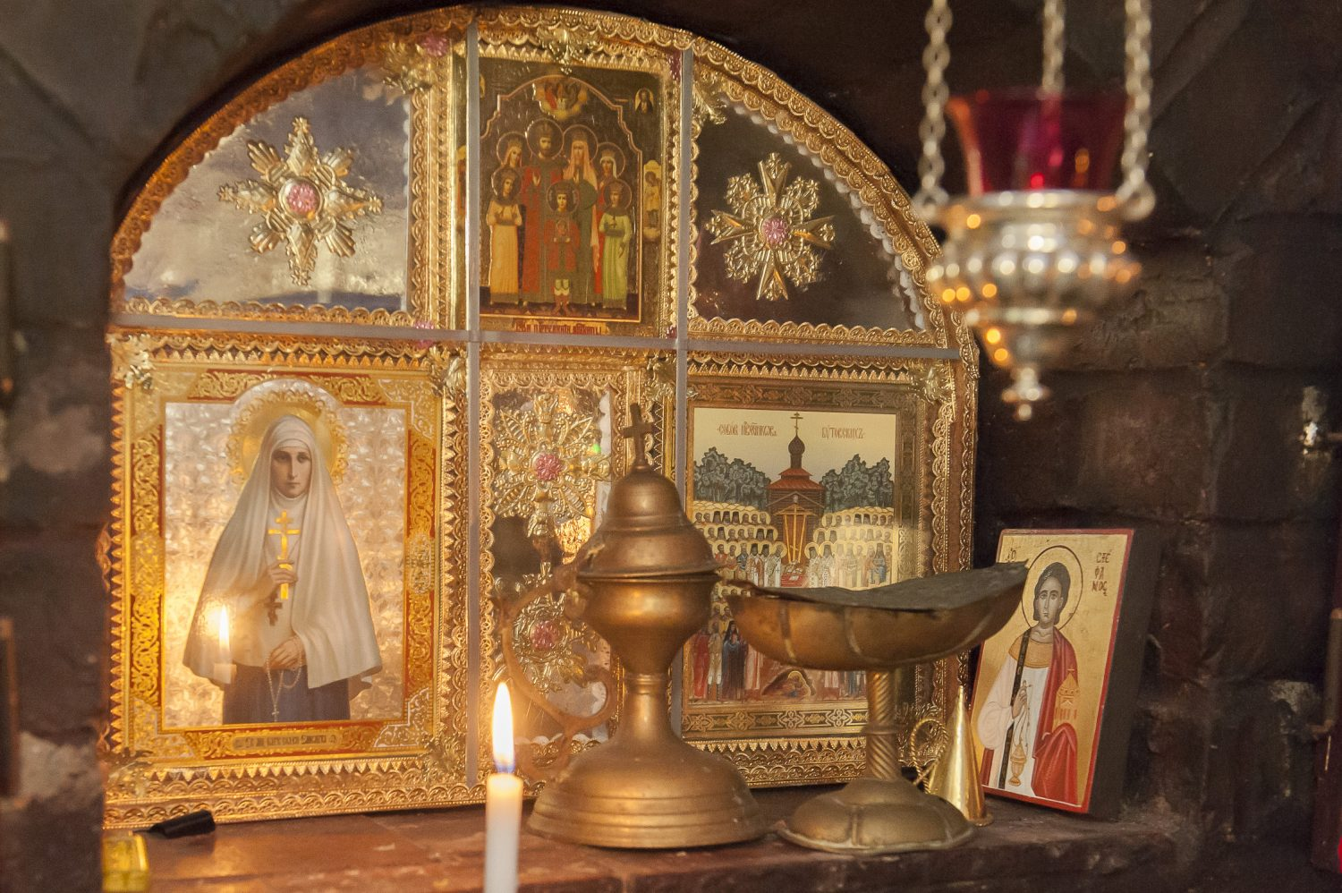 At the rear of the garden, Paul and Stephen have built a tiny and exquisite chapel in the Orthodox style, where mass is sometimes said. With painted angels on a rich blue ground, a wealth of icons, censers, reliquaries and a central Madonna and Child, it's so beautiful and surprising