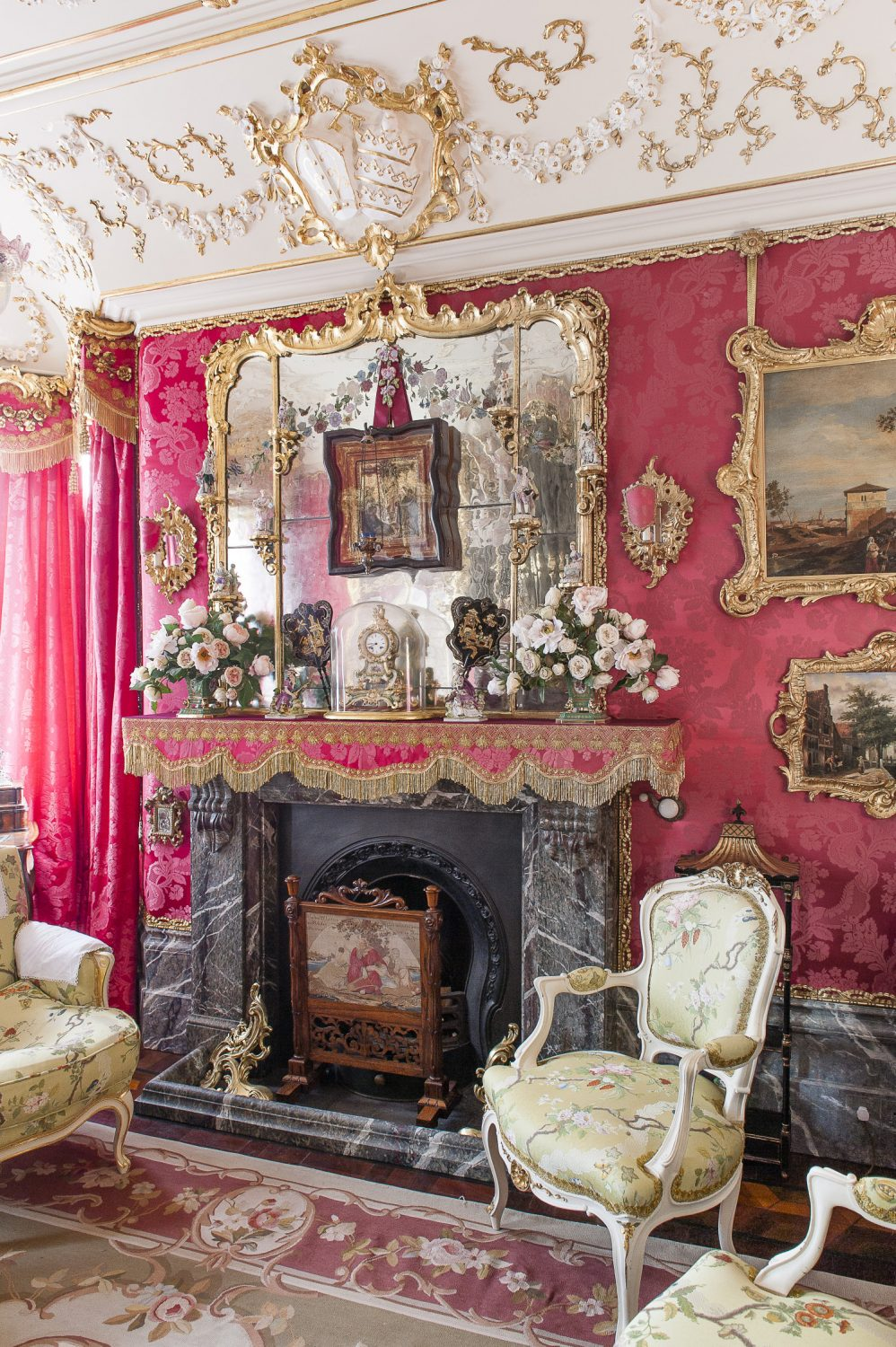 the music room, a rather playful swerve back to 18th century baroque, with fauteuil chairs