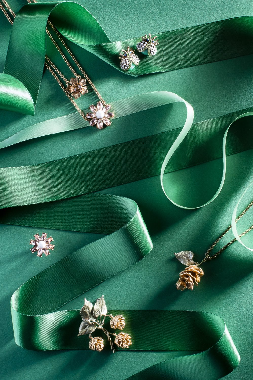 Last True Angel Bug Earrings, £11.95, Flower Pendant, £13.50, Flower Ring, £6, Serendipity Fashions, serendipityfashions.co.uk; Hop Pendant, £122, Brooch, £122, G Cornell & Sons gcornell.co.uk