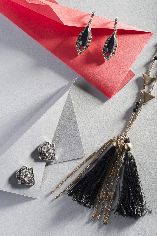 Tassel Necklace, £15, Jewelled Drop Earrings (above), £13.50, Diamanté Earrings (below), £12.50, Serendipity Fashions, serendipityfashions.co.uk