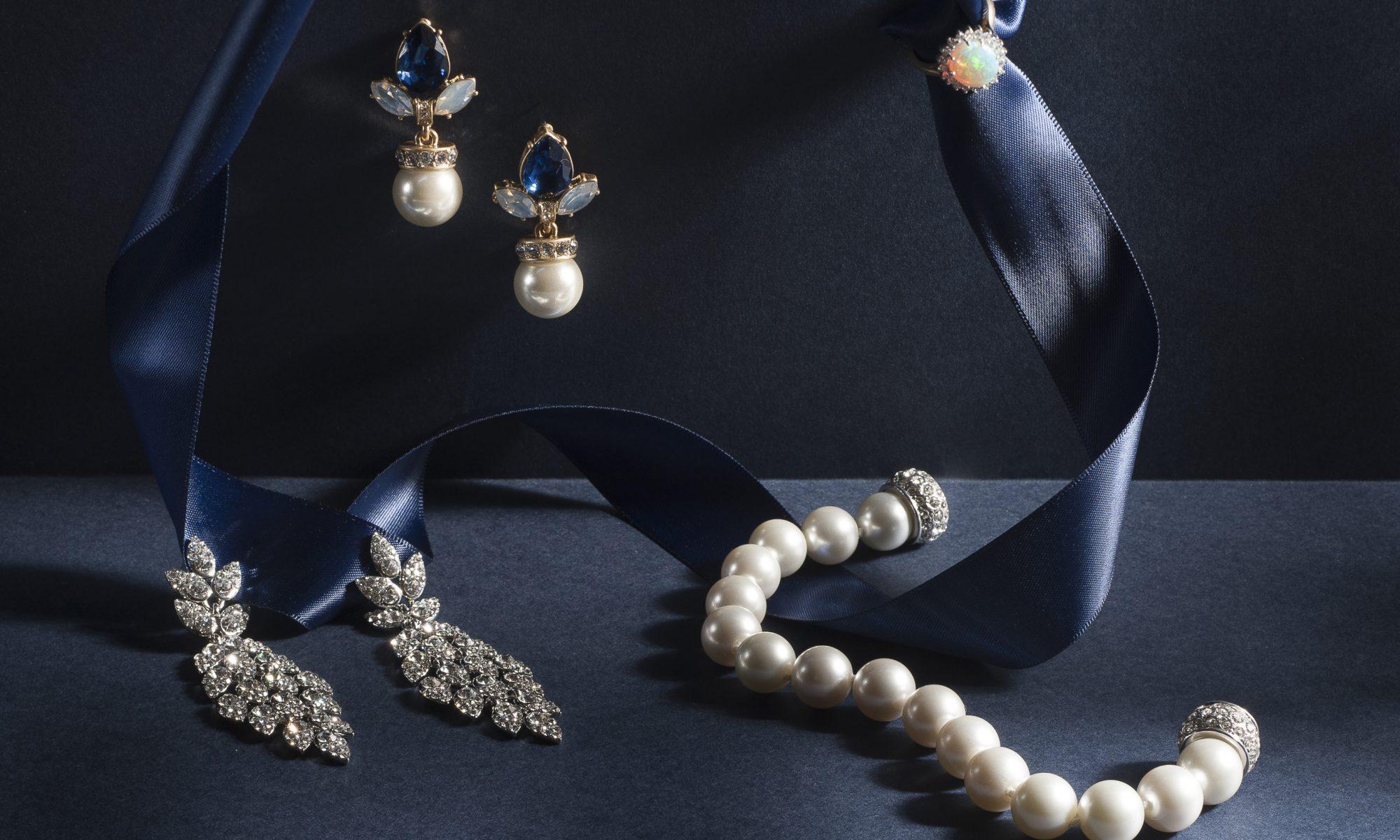 Opal Dia Ring, £2,195, G Cornell & Sons gcornell.co.uk; Chandelier Earrings, £39, Pearl Bracelet, £58, Melita Boutique, melitaboutique.co.uk; Pearl Drop Earrings, £13.50, Serendipity Fashions, serendipityfashions.co.uk