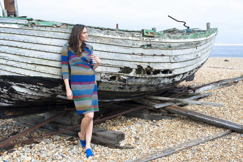 Onjenu dress, £89, Odyl, Cranbrook odyldesign.com; blue Van Dal mules, £70, Golden Boot, Maidstone