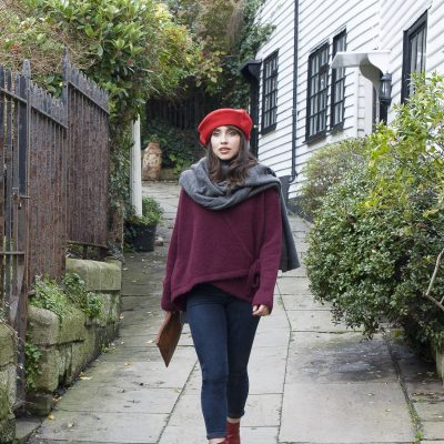 Wool beret, £30, Mohair blend wrap cardigan, £100, leather ankle boots, £215, Antoine & Lili antoineetlili.com; wool blend shawl, £95, Butlers Emporium trouva.com/boutique/butlers-emporium-in-tn343ee