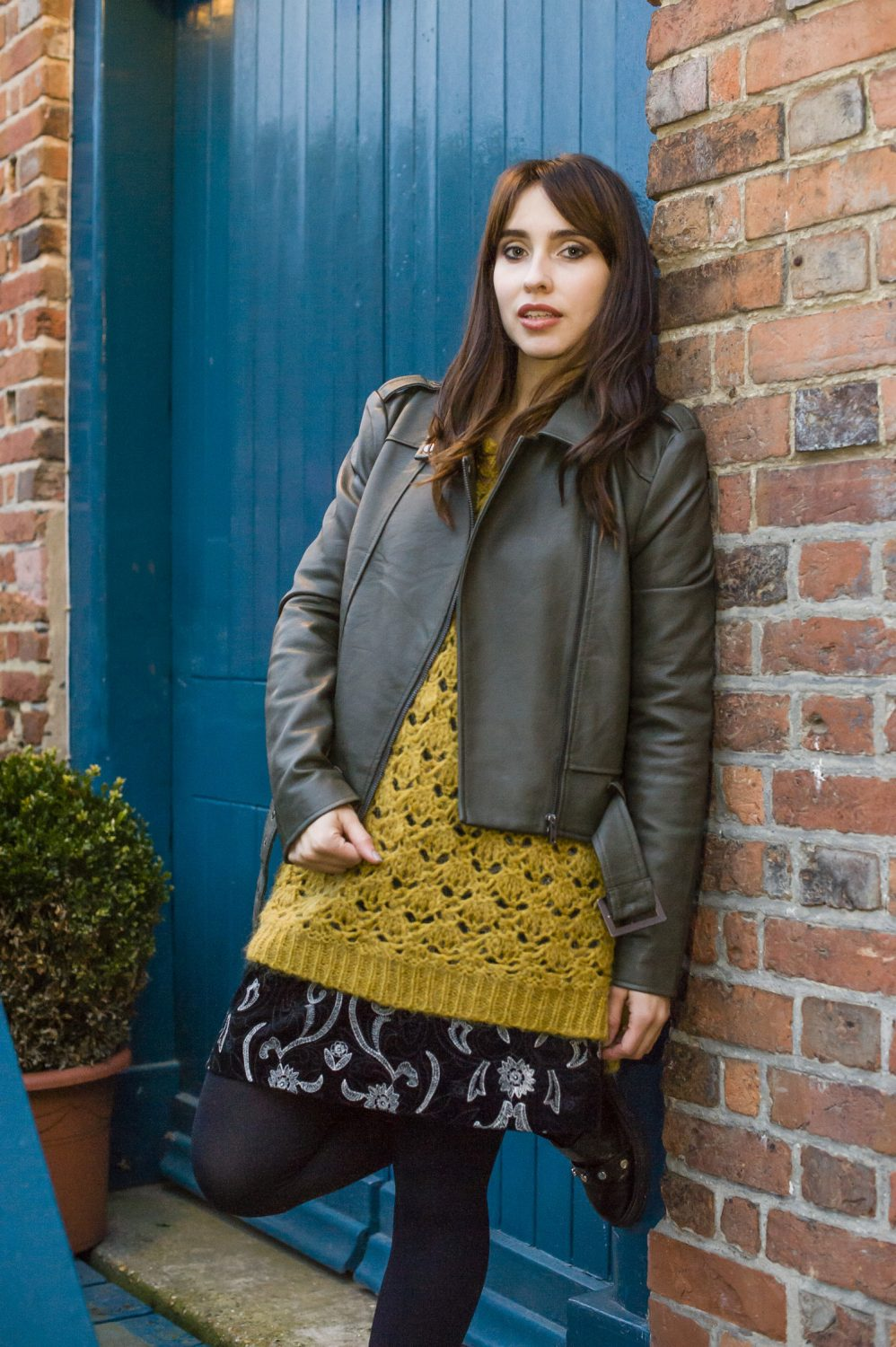 Biker jacket, £79, Embroidered Skirt, £65, The Lilac Room lilacroom.co.uk; Mohair Blend Jumper, £100, Antoine & Lili www.antoineetlili.com; boots stylist's own