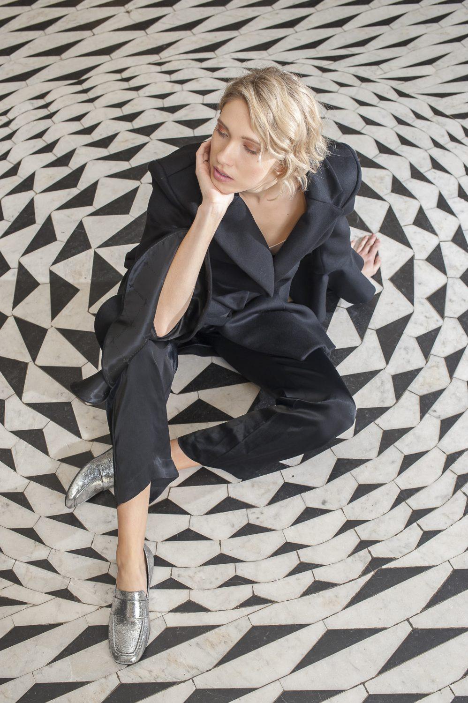 Patrizia Pepe coat, £495, Rose Munde silk trousers, £60, Odyl, Cranbrook odyldesign.com; silver loafers, £80, Vagabond vagabond.com