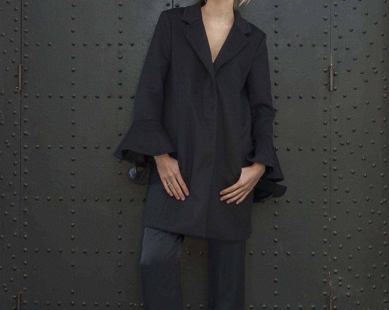 Patrizia Pepe coat, £495, Rose Munde silk trousers, £60, Odyl, Cranbrook odyldesign.com