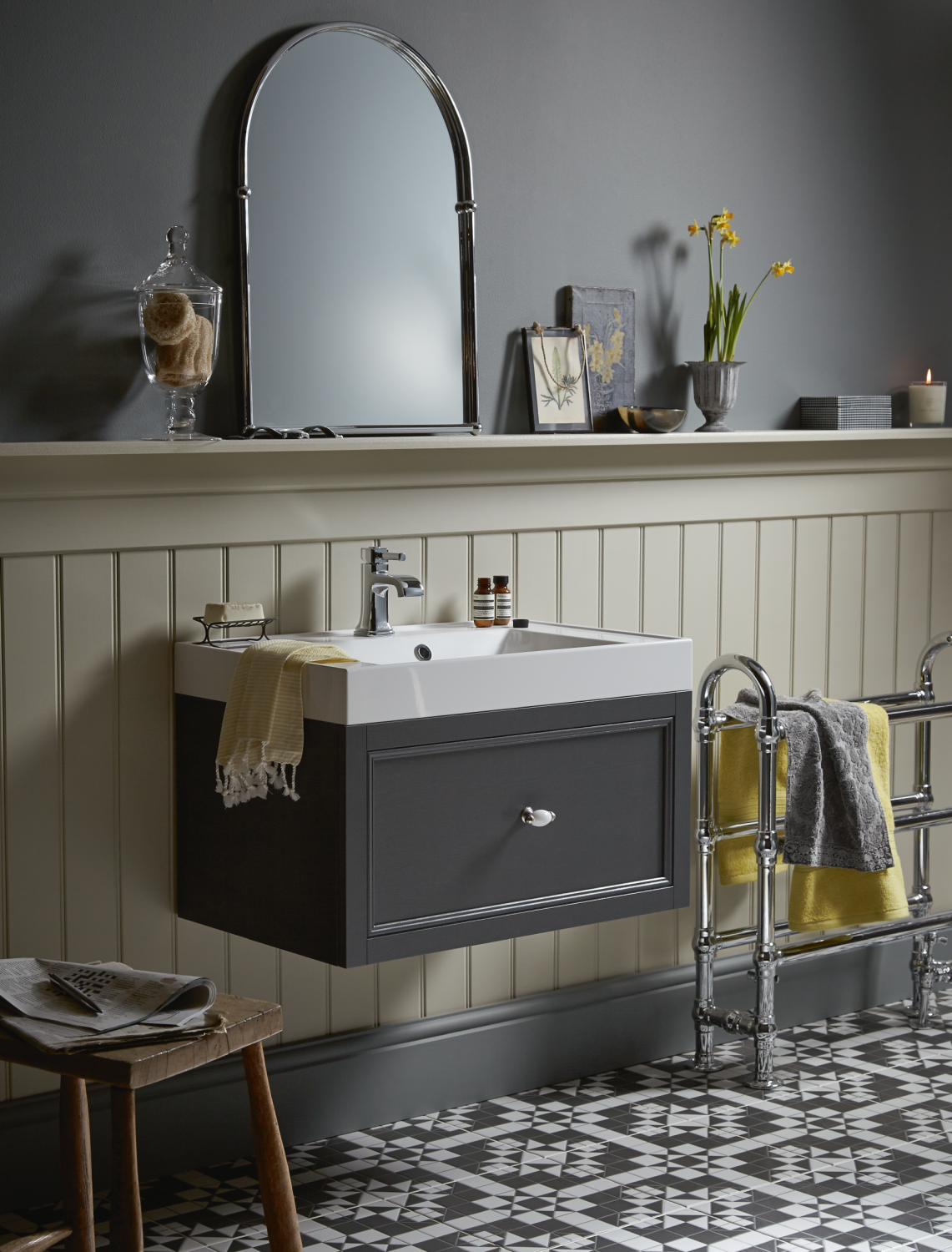 Heritage Caversham graphite grey wall hung vanity unit 1 drawer, £995 inc. vat, Cranleigh Bathroom Studios, cranleigh-bathroomstudios.co.uk
