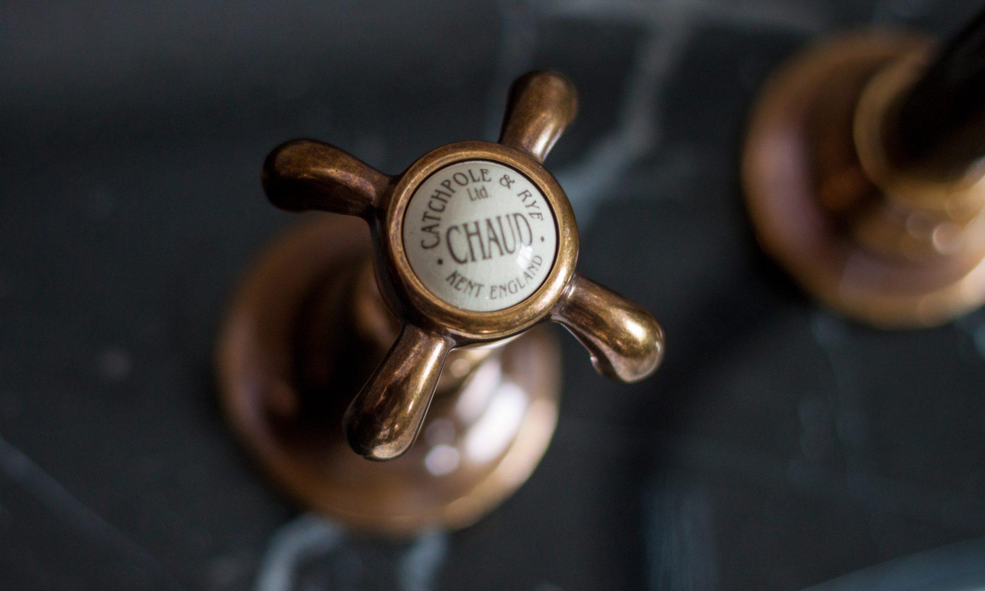 La Loire Three Hole Taphead in Antiqued Brass, from £450 plus vat, Catchpole & Rye catchpoleandrye.com
