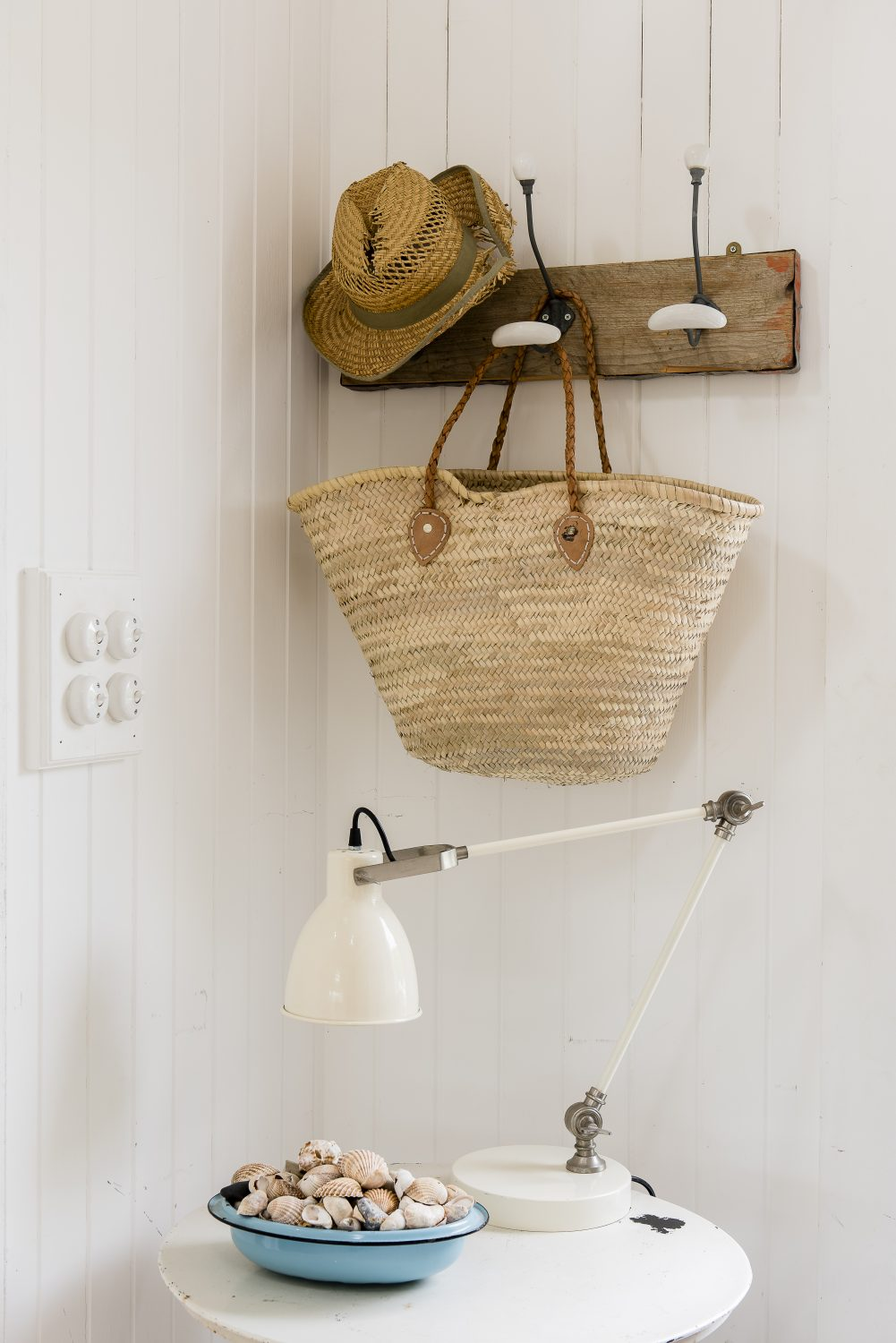 A corner near the front door. The basket is from Pale & Interesting