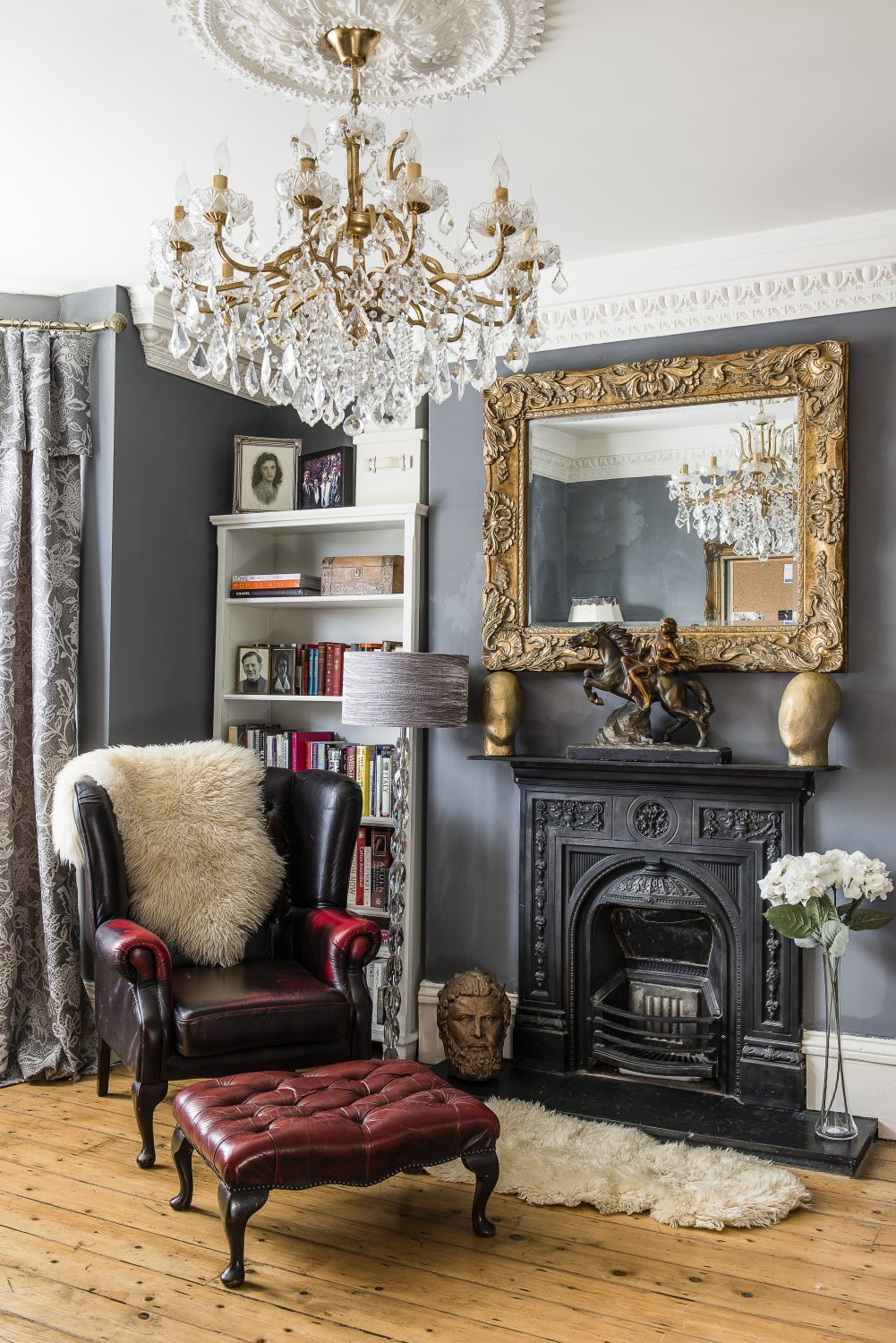 Sarah has created dramatic glamour in the ground floor study, with a statement chandelier from Roomings in George Street, Hastings Old Town Above left: the furry leopard print chest of drawers is from Hastings Antique Warehouse.