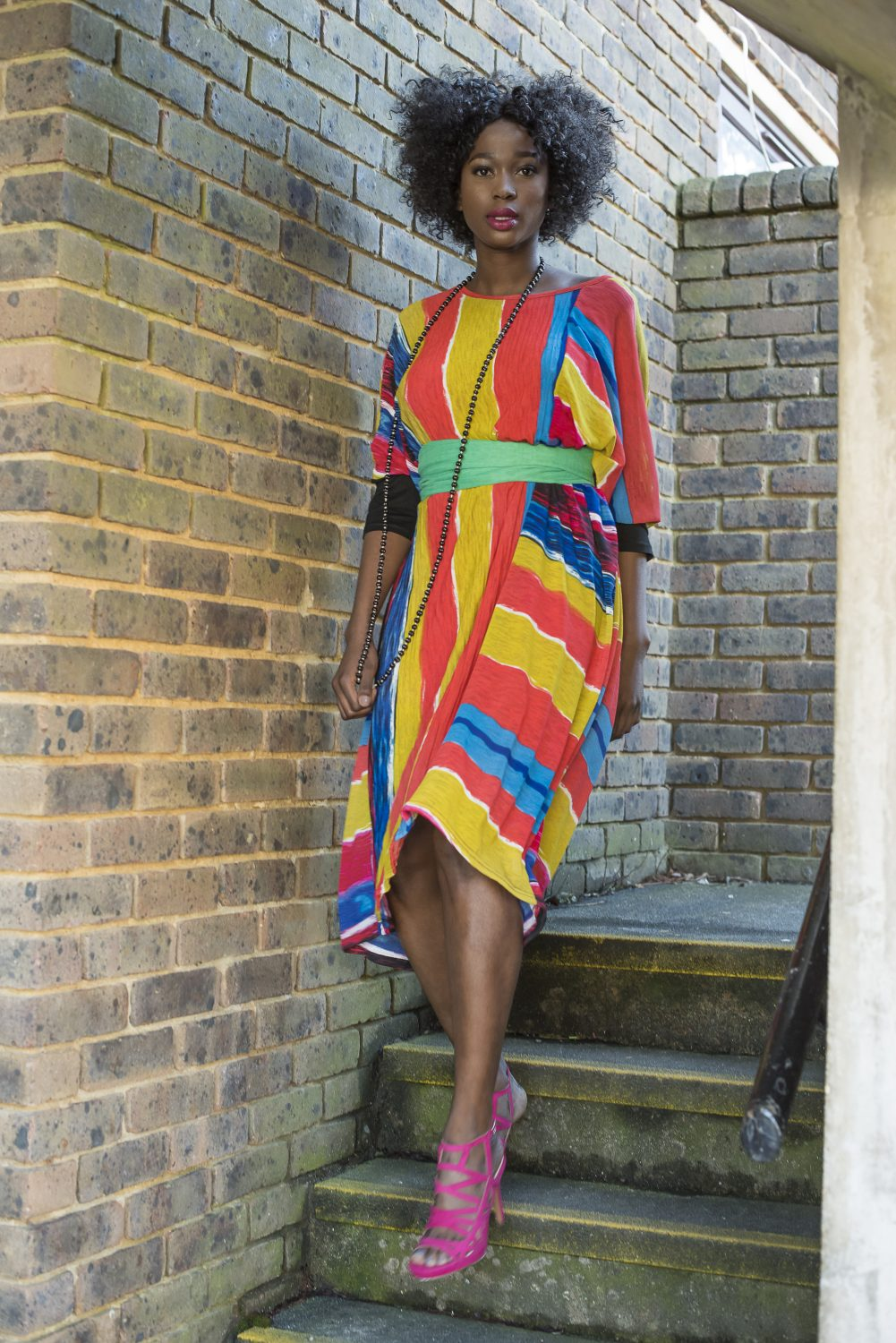 Dress, £65, Who's Wearing What Boutique whoswearingwhat-boutique.co.uk; necklace, £32, Antoine & Lili antoineetlili.com; scarf worn as belt, £22.50, cage sandals, £49.95, Manuka Shoes manukashoes.com