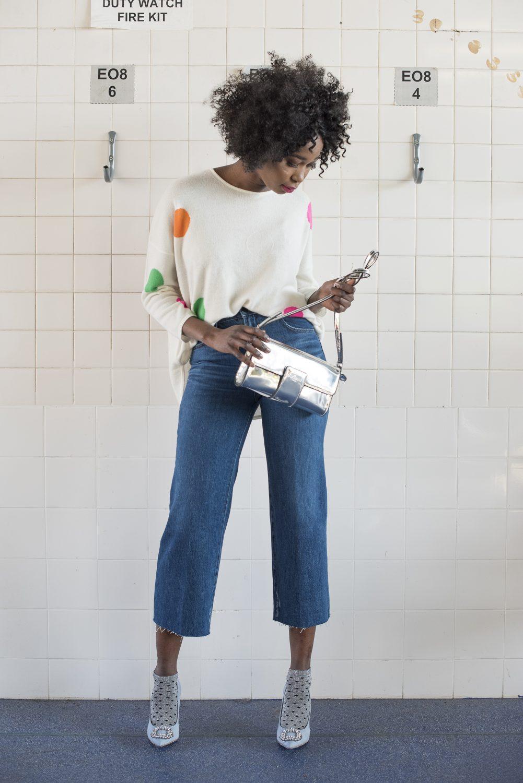 Cashmere jumper, £199, cropped jeans. £245, Hall & Co halland.co; bag, £75, Manuka Shoes manukashoes.com; suede courts, £54, Kurt Geiger at Ashford Designer Outlet ashforddesigneroutlet.com; ankle socks, stylist's own