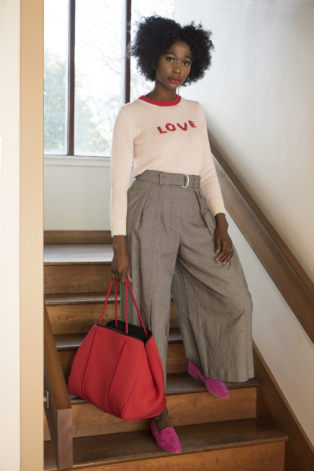 Slogan jumper, £170, check culottes, £250, Weekend Max Mara at Fenwick Tunbridge Wells fenwick.co.uk; bag, £80, Hermosa London hermosalondon.com; suede loafers, £115, Manuka Shoes manukashoes.com