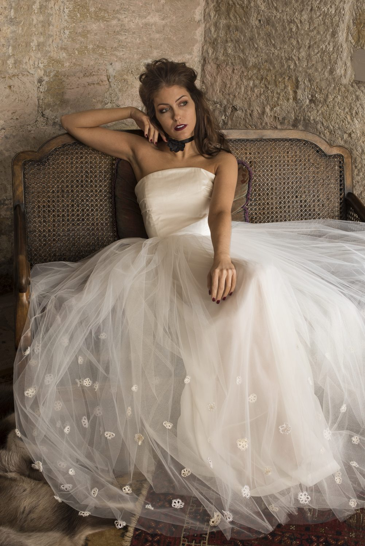 Simone dress, from £1395, flower corsage choker, from £20, Tara Deighton Bridal & Bespoke taradeighton.co.uk 07825 585051