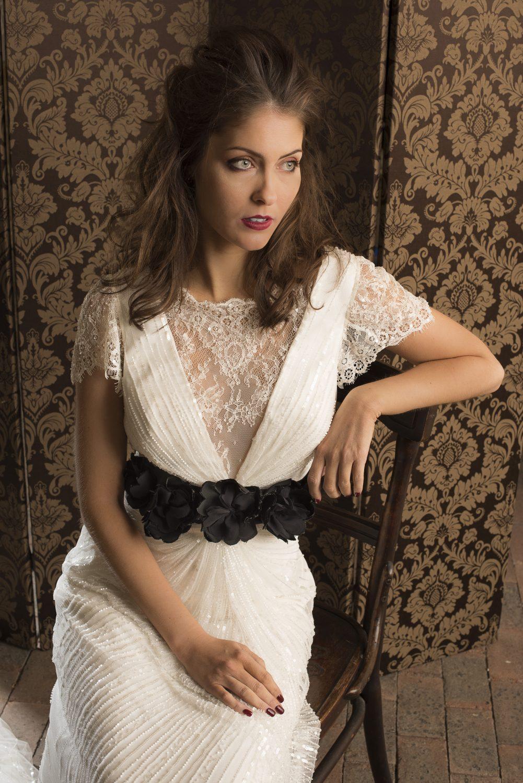 Eliza Jane Howell Columba dress, £1680 The Bridal Boutique of Jules boutiqueofjules.co.uk 01304 389710; Flower sash, from £145, Tara Deighton Bridal & Bespoke taradeighton.co.uk 07825 585051