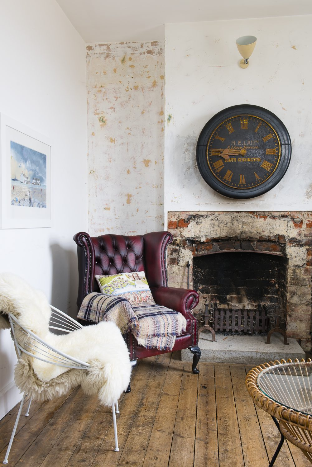 The clock in the sitting room was found in South Kensington on one of Marta's father's sites