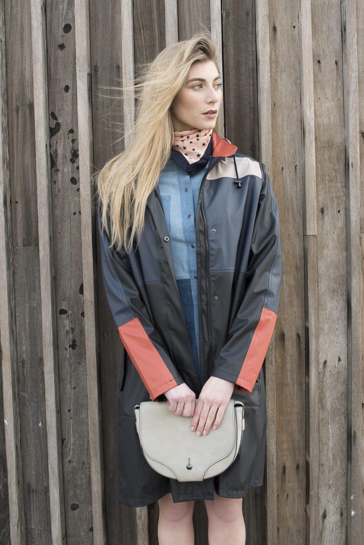 Ilse Jacobsen raincoat, £160, Travelling Bazaar travelling-bazaar.com; star print neck scarf, £4.50, cross body bag, £19, M&S at Ashford Designer Outlet, patchwork denim dress, £75, French Connection at Ashford Designer Outlet ashforddesigneroutlet.com