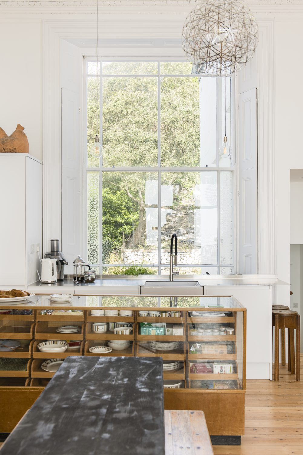 Looking the other way, towards the sea. The refectory table is from London Rd. and the stools are from Object