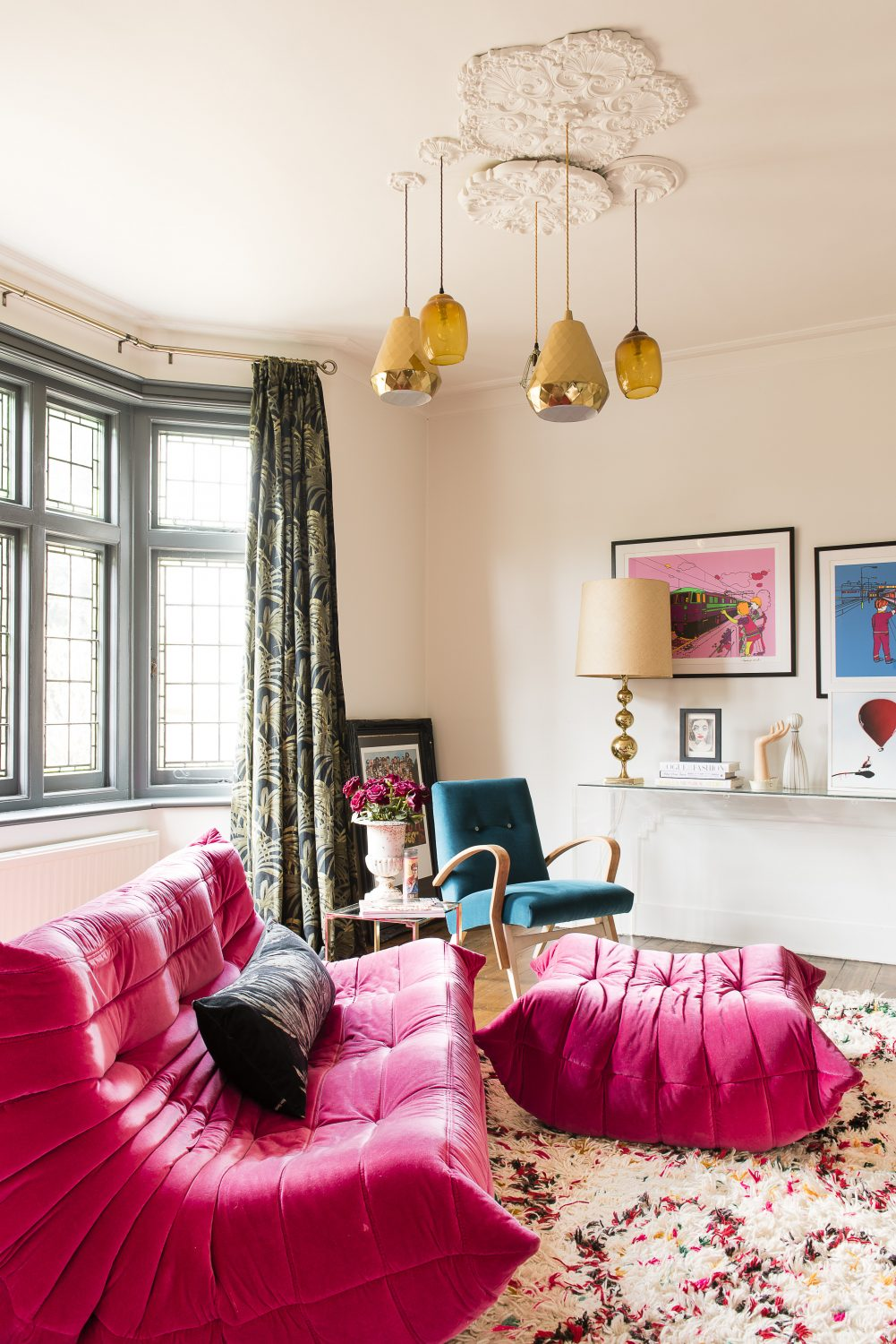 The second snug is dominated by a comfy Ligne Roset Togo sofa with matching ottoman
