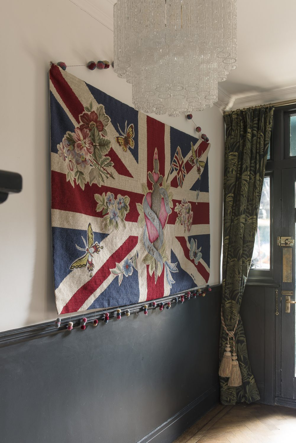 """A Vivienne Westwood for the Rug Company tapestry hanging by the front door. """"I bought that with inheritance money from my grandparents. I love it because it reminds me of them. I'm done with hanging it like this though. I think for the next house I might have it framed."""""""