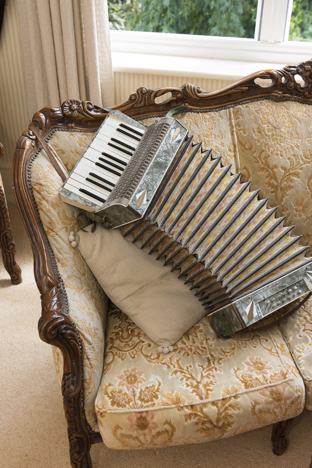 A piano accordion left over from a recent production