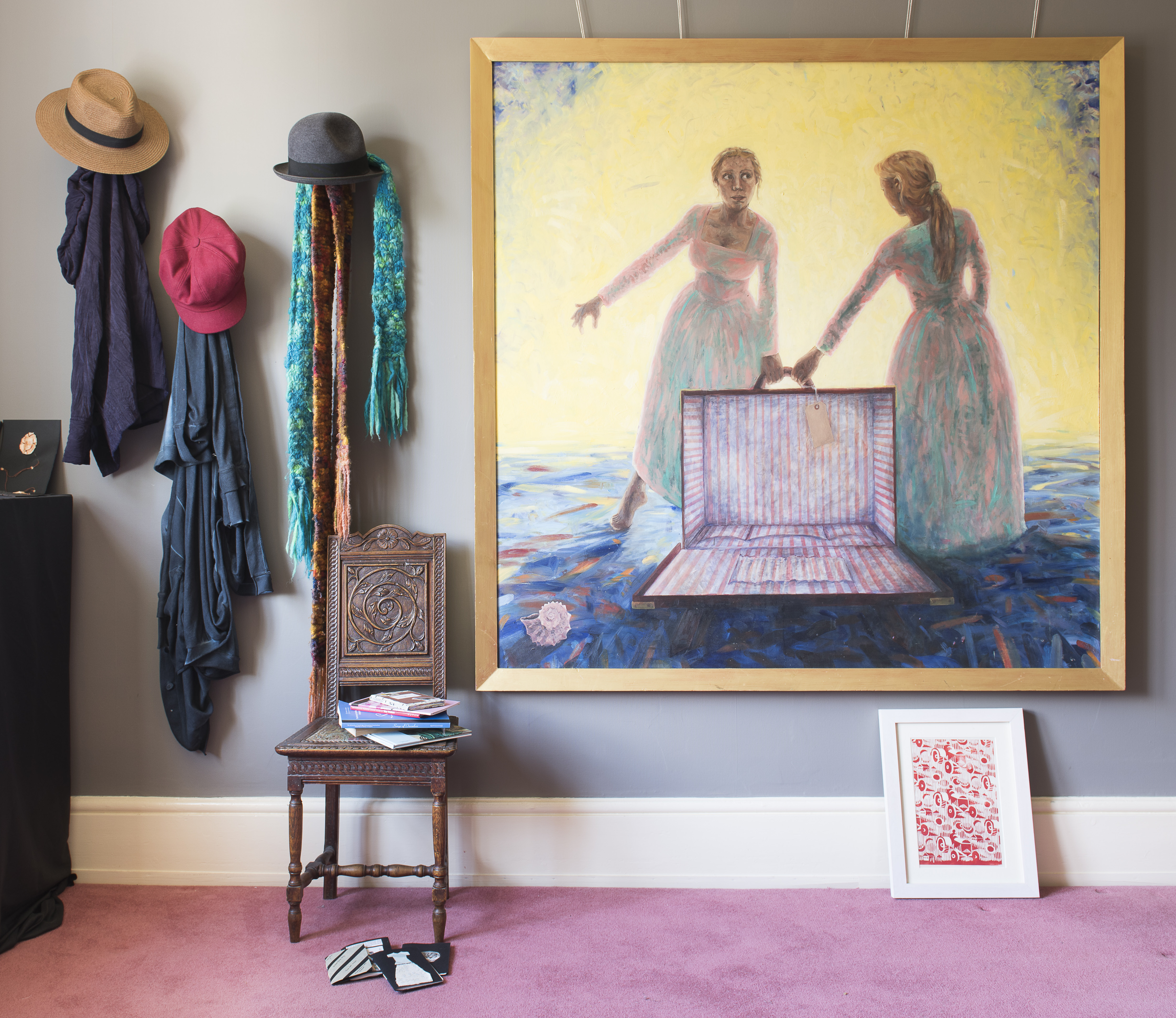 Bath-based artist Emma Joy's painting hangs over a print recreated from Soviet artist Sergey Burylin's work, Tractor