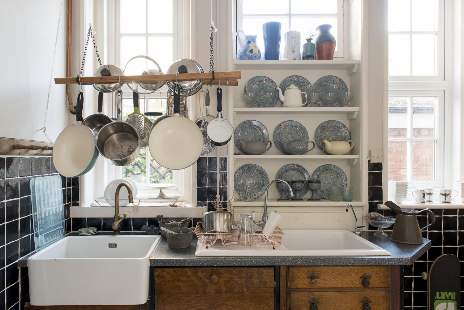 The kitchen has been constructed around re-purposed antique cabinets sourced in Kings Road, St Leonards