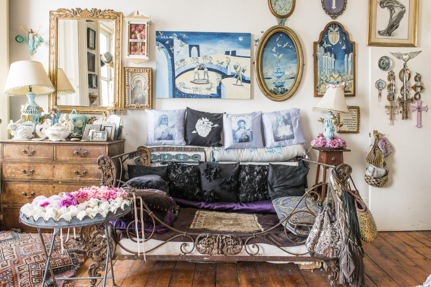 The French day bed is sourced from long-time St Leonards dealer, Eamon and is topped with bolsters which Sassy made herself with fabric remnants, bits of old duvet, vintage ribbons and sequin belts