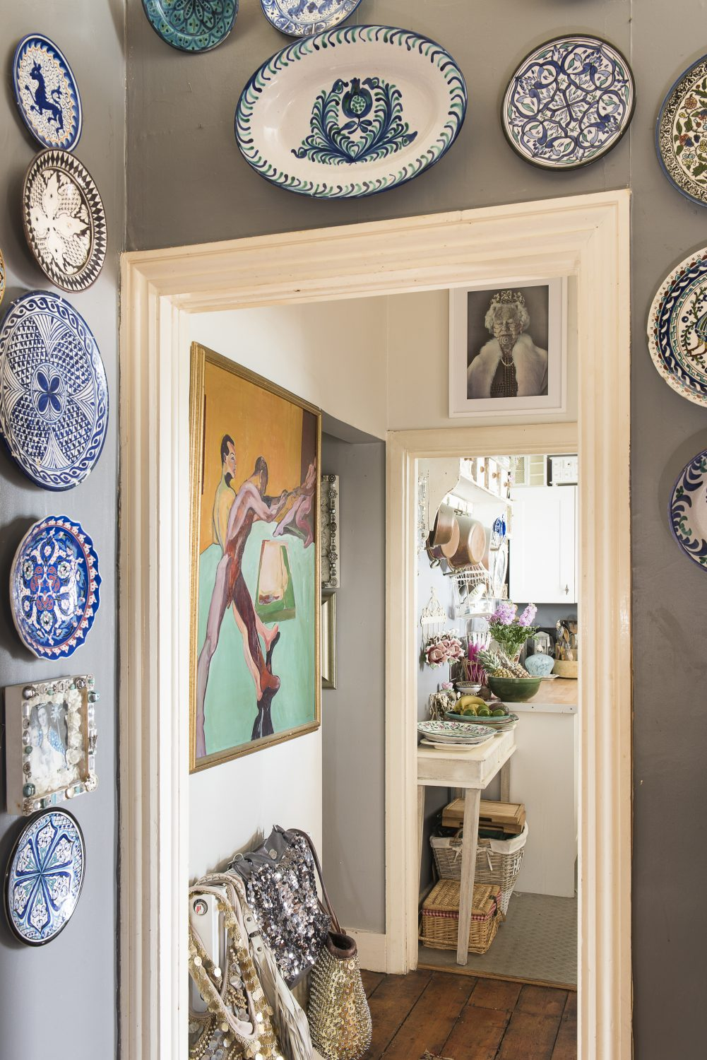 Inspired by life in Spain, Sassy has no dinner service, but simply takes her decorated plates from the wall when entertaining