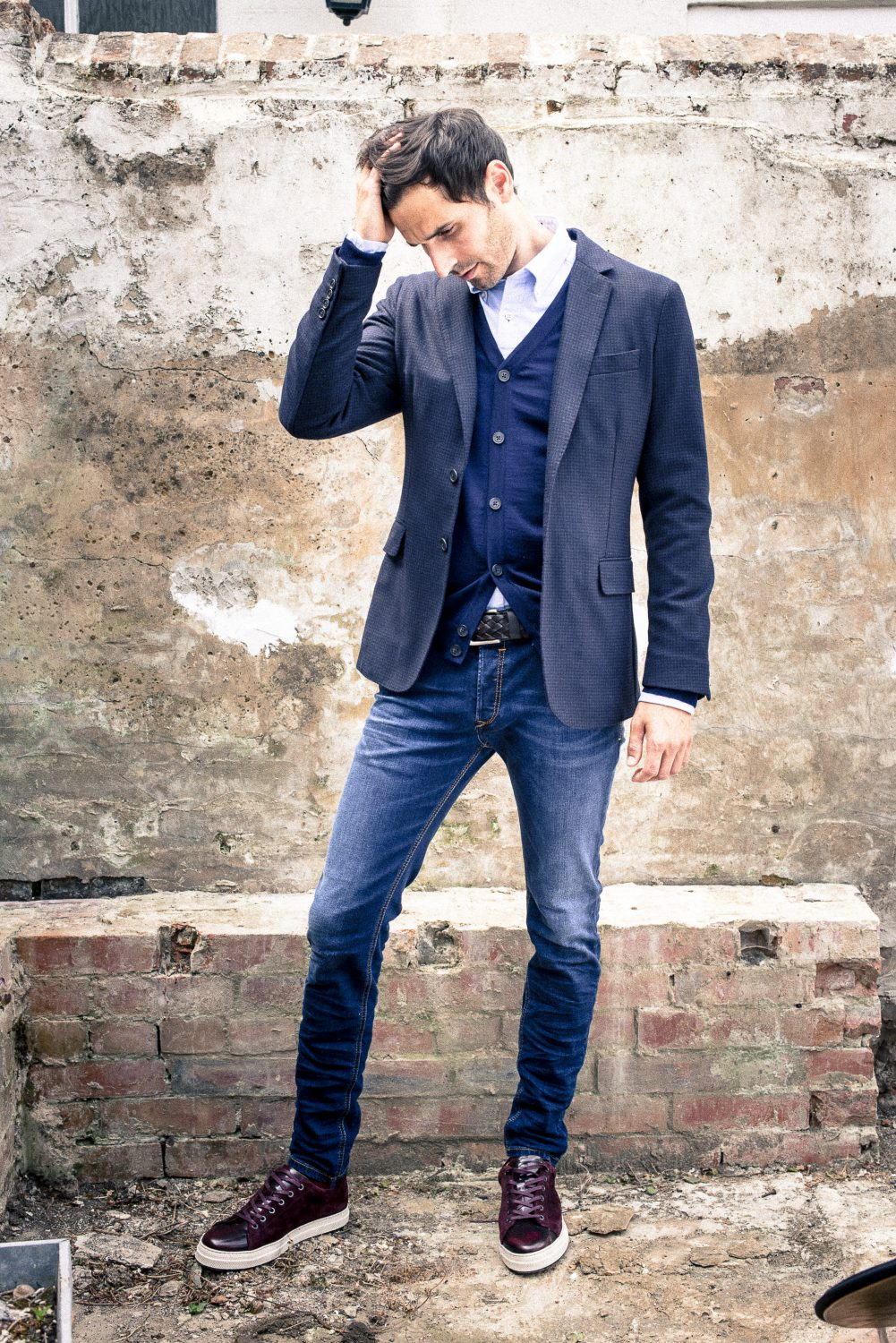 Shirt £85, fine knit cardigan £135, trainers £105 GANT gant.co.uk