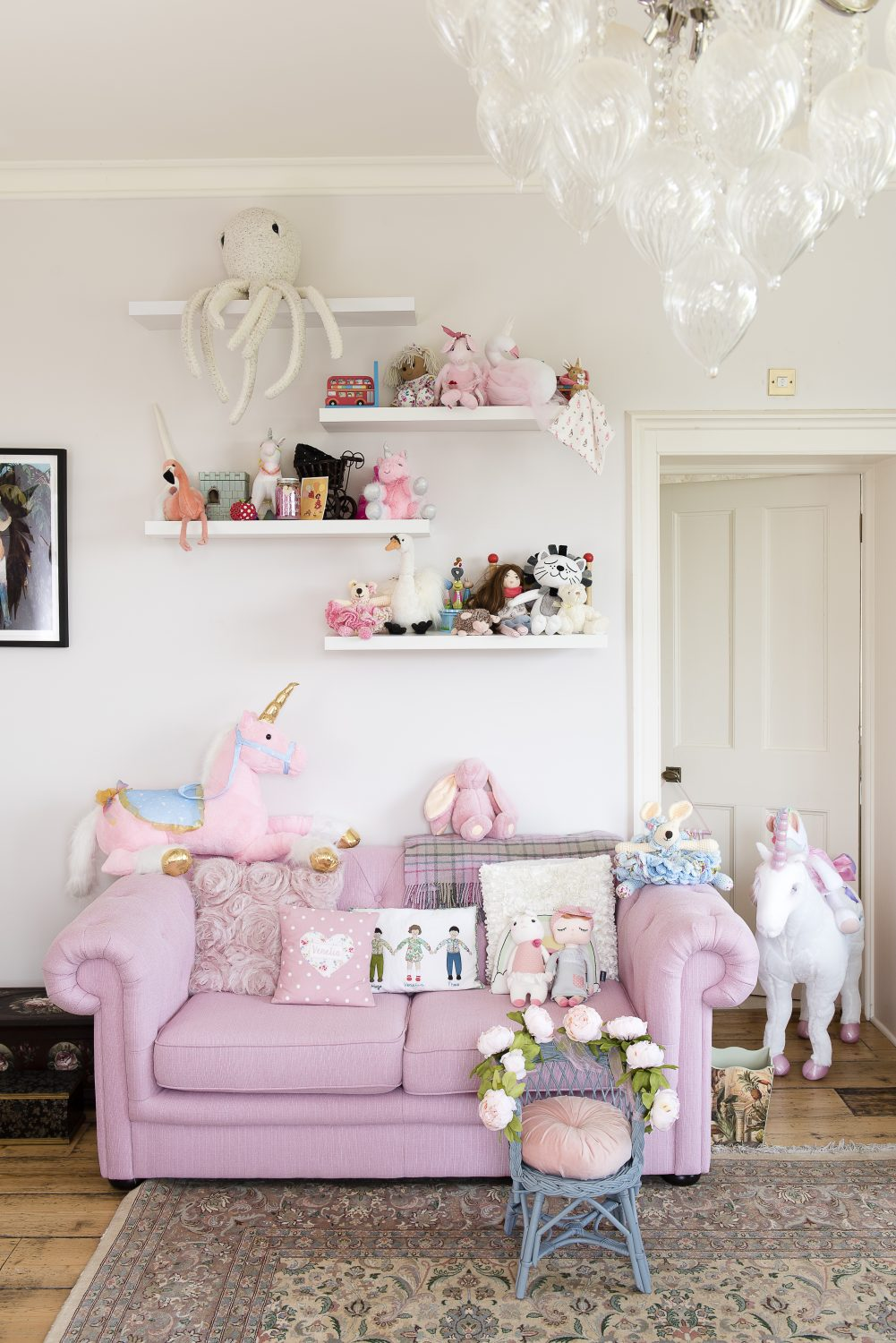 A pretty pink nursery for Chris and Lillie's new born daughter, complete with unicorns from Melissa & Doug