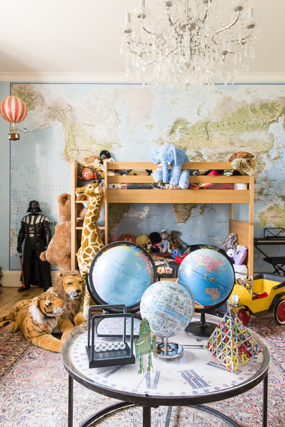 The world map is from Printed Space and the bunkbed is by Great Little Trading Company