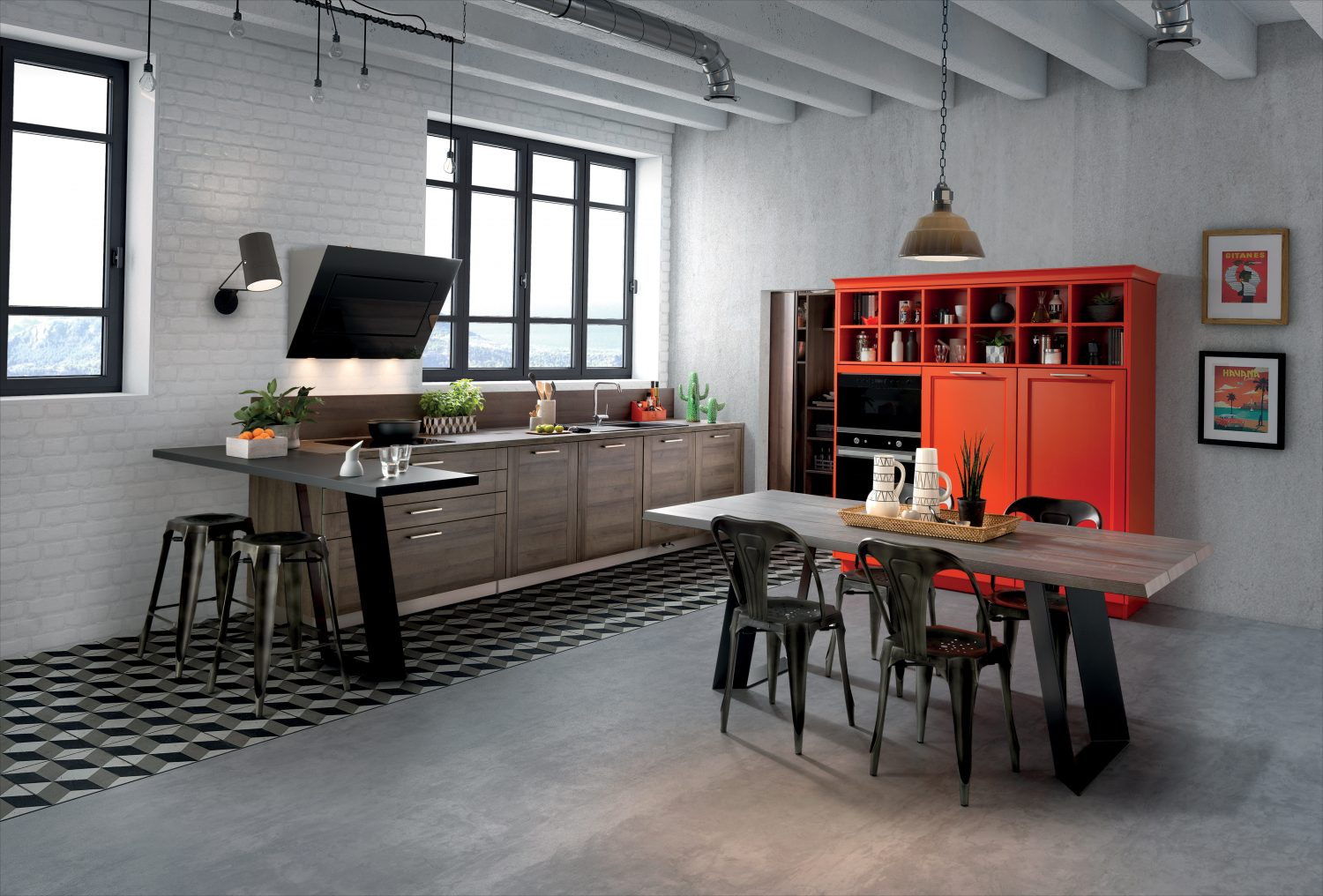 Schmidt Chic Workshop from the Designer Line collection. Built in a former industrial workshop for the shoot, showing the practical storage elements, including the bespoke orange cupboard, with chairs and stools and a designer bar counter. These units are from the Groove range (Tabacco in the photo) and the Bolero range (Tangerine). The laminate worktops are in Tabacco and Nano Black. Kitchens from £10,000. 01892 547132 tunbridge-wells.home-design.schmidt