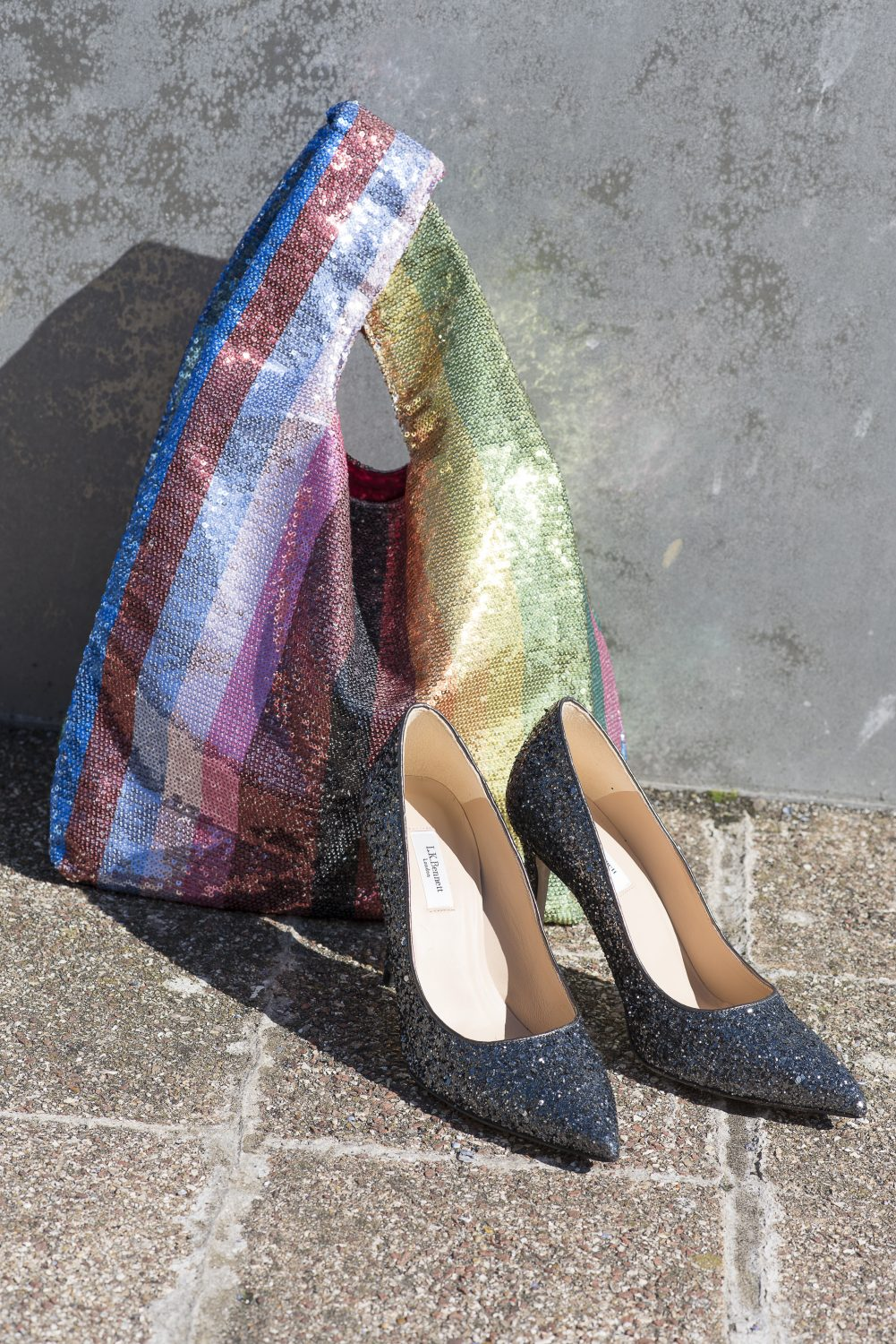 Sequin rainbow tote £55, SWYC saywhatyouc.com #saywhatyouc; glitter court shoes £195, L.K.Bennett Bluewater 01322 427178 lkbennett.com