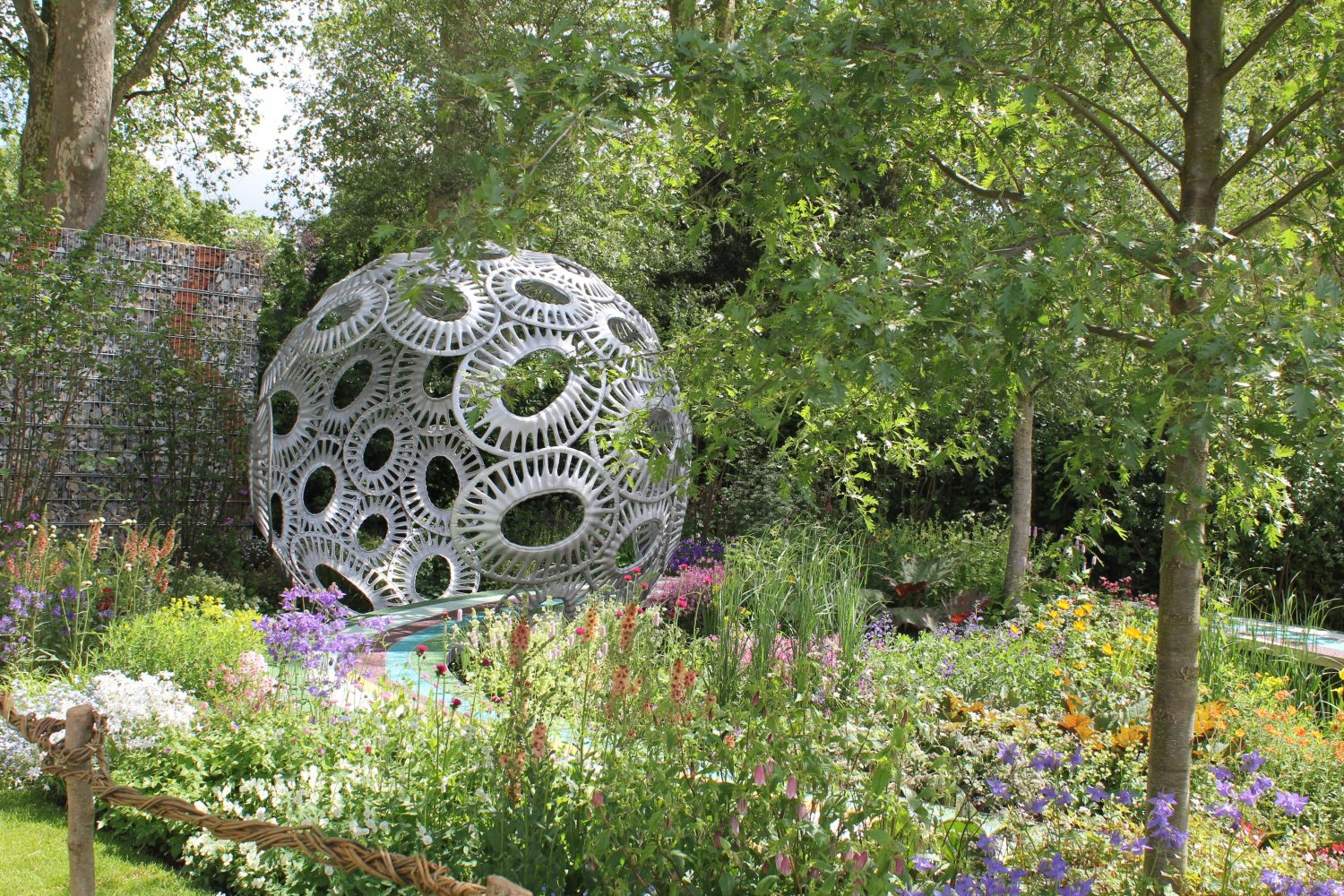 A large silver 'focal point' in one of 2016's show gardens