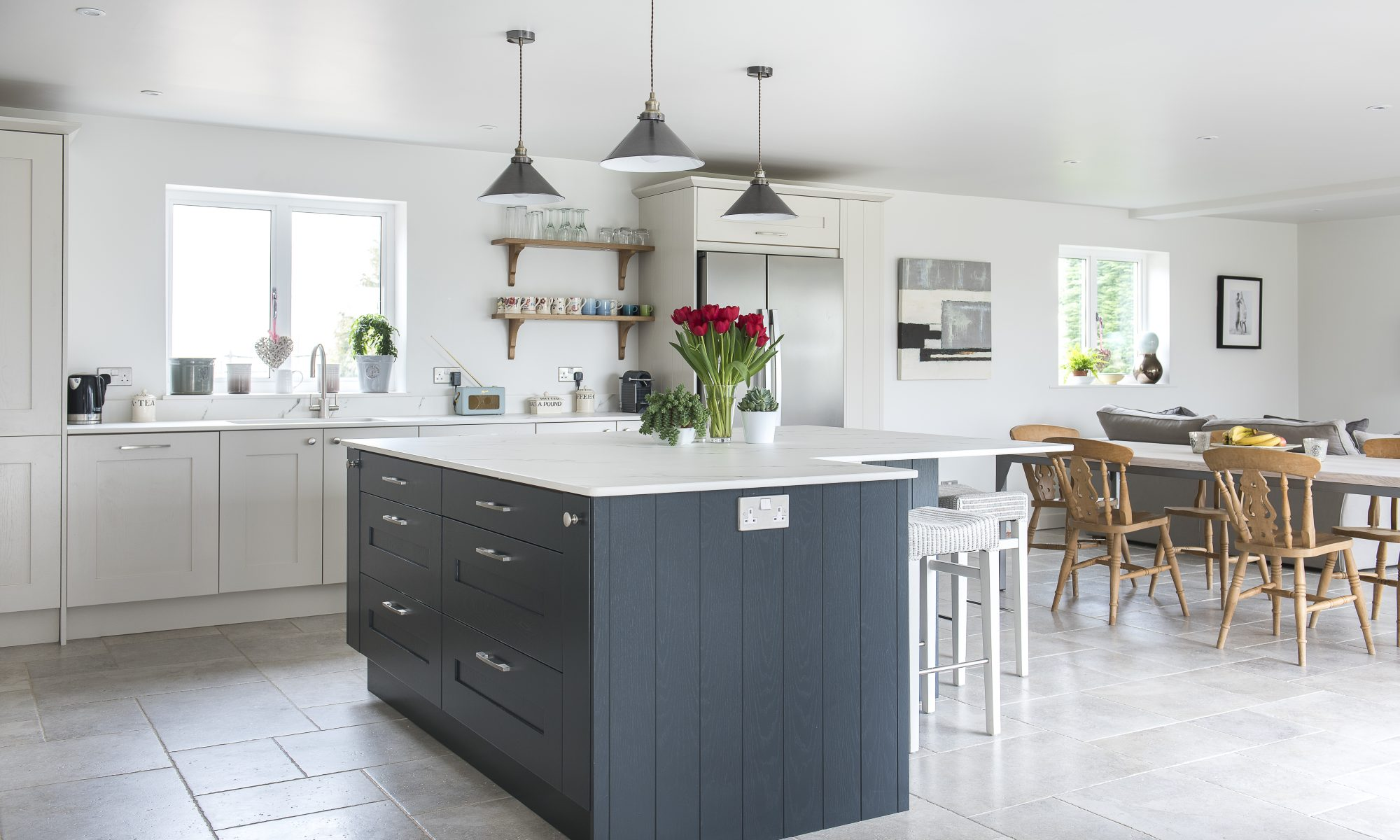 A classic monochrome kitchen, contemporary but still cosy. From £20,000 01580 291221 jminteriorsuk.uk